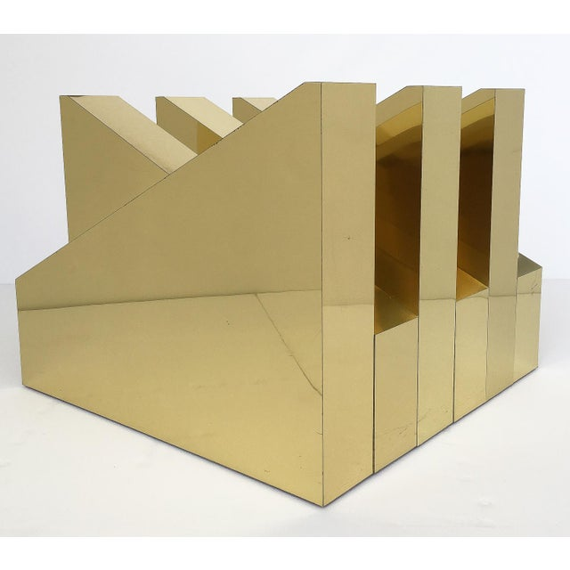 Brass Modern Sculptural Brass Clad Coffee Table For Sale - Image 7 of 13