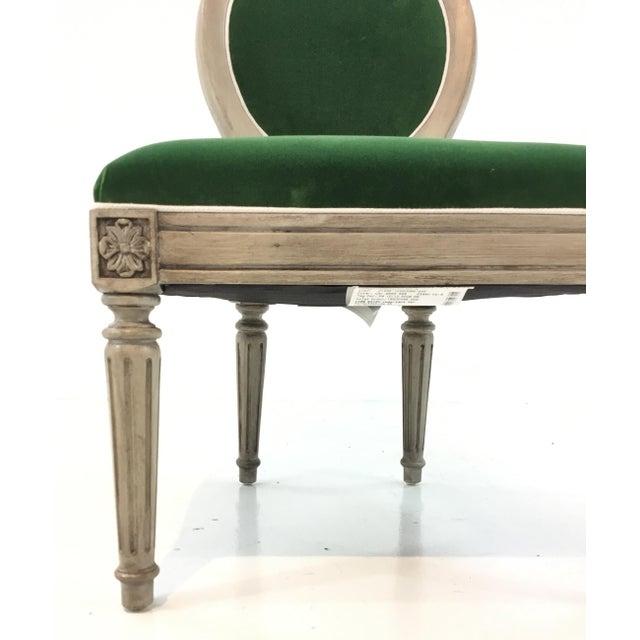 Elegant Mark Sikes for Henredon French Style Carlyle Green Velvet Chair, glazed cream painted wood frame, showroom floor...