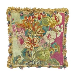 Antique Tasseled Floral Aubusson Pillow For Sale