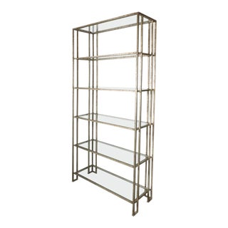 Impressive Industrialist Patinated Brass and Glass Etagere, American, circa 1970 For Sale