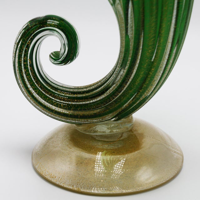 Mid-Century Modern Archimede Seguso Jack-In-The-Pulpit Vase With 24k Gold Inclusions, C. 1950 For Sale - Image 3 of 8