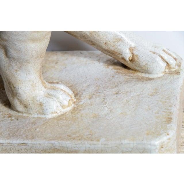 Italian Glazed Terra Cotta Neapolitan Mastiff Dog Sculpture For Sale - Image 4 of 11