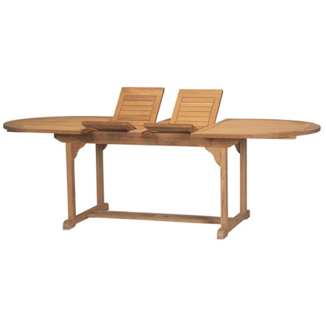 The January Oval Teak Teak Outdoor Dining Table with Double Extensions is a contemporary look from a classic style....