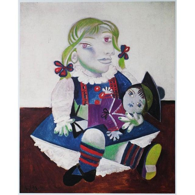 Blue Picasso Portrait De Maya à La Poupée, 1971 Parisian Photogravure For Sale - Image 8 of 9