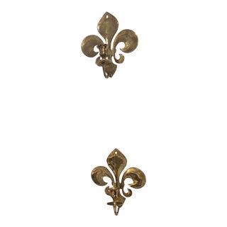 Brass Fleur De Lis Candle Sconces - a Pair For Sale