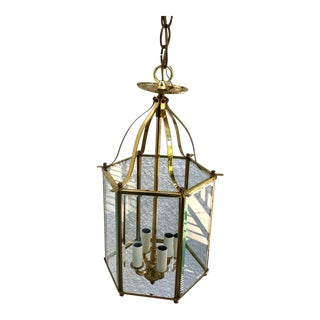 Brass 4-Light Hall Lantern With Beveled Glass For Sale
