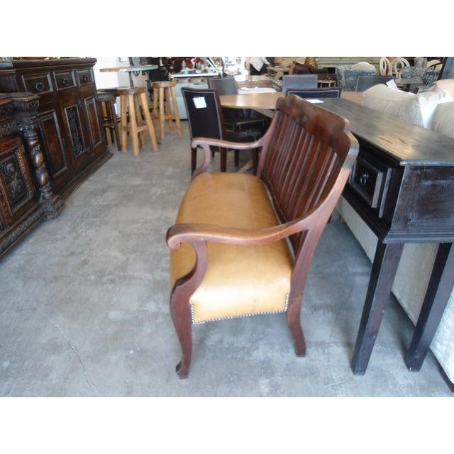 Vintage Dark Wood & Tan Leather Bench - Image 3 of 5