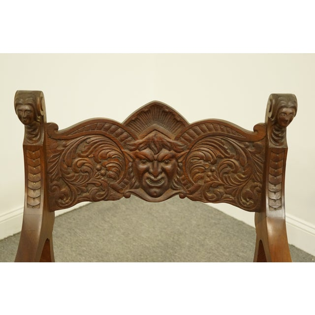 1920s 1920's Antique Jacobean Gothic Revival Carved Accent Arm Chair For Sale - Image 5 of 10