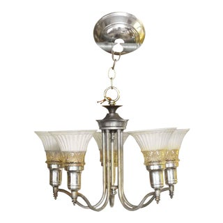 Five Arm Chandelier With White Scalloped Glass Shades For Sale