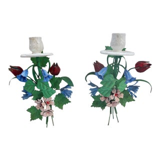 1940s Italian Tole Floral Wall Sconces - a Pair For Sale