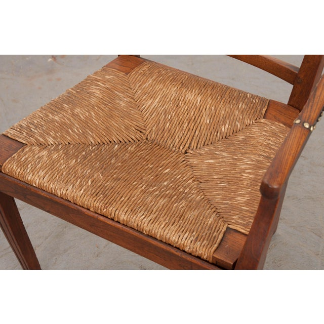 Gold French 19th Century Louis XVI Style Rush-Seat Armchair For Sale - Image 8 of 9