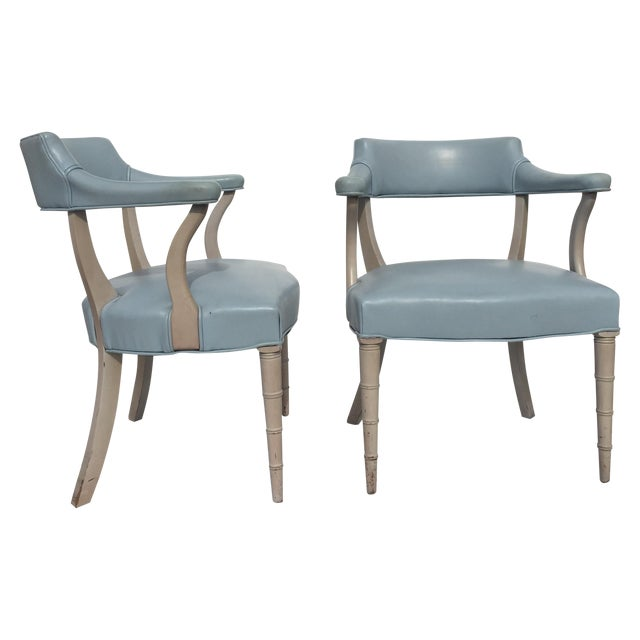 Faux Bamboo Captain's Chairs - A Pair - Image 1 of 10