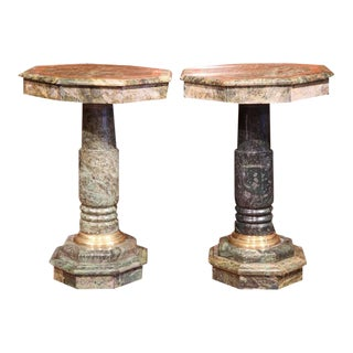 19th Century Italian Carved Octagonal Green Marble Pedestals - a Pair For Sale
