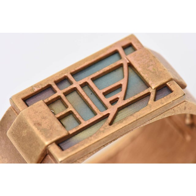1960s Monet Signed Gold Plated & Iridescent Resin Hinged Cuff Bracelet Final Markdown For Sale - Image 5 of 10