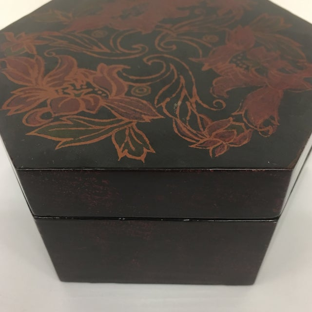 Vintage Black Lacquer Hexagon Box - Image 3 of 11