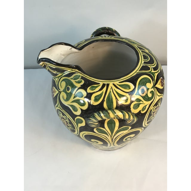 Antique 19th C Cantagalli Deruta Pottery Vintage Italy Pottery with two handled water or wine vessel for m Italy....