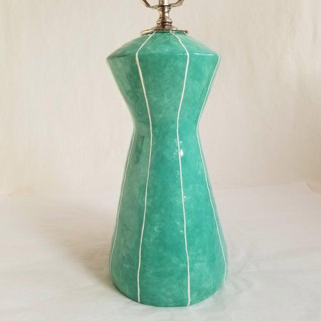 Mid-Century Modern Handmade Turquoise Green Table Lamp by kRI kRI Studio For Sale - Image 3 of 5