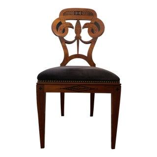 1930s Antique Biedermeier Swan Side Chair For Sale
