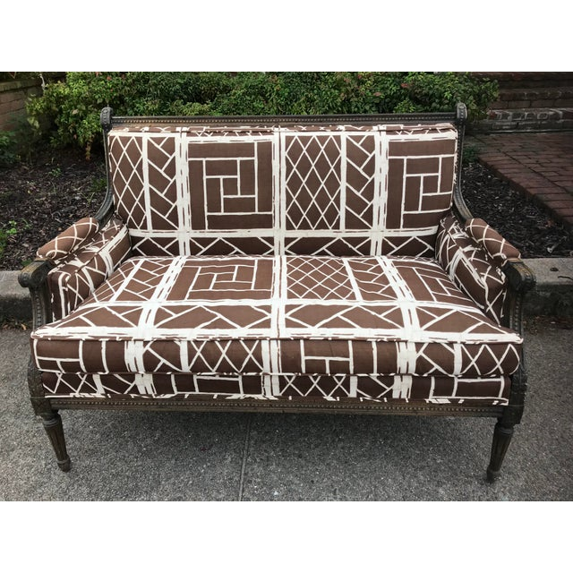 French Settee in Vintage Chippendale Fabric - Image 2 of 6