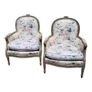 Pair of French Style Painted Bergeres I For Sale