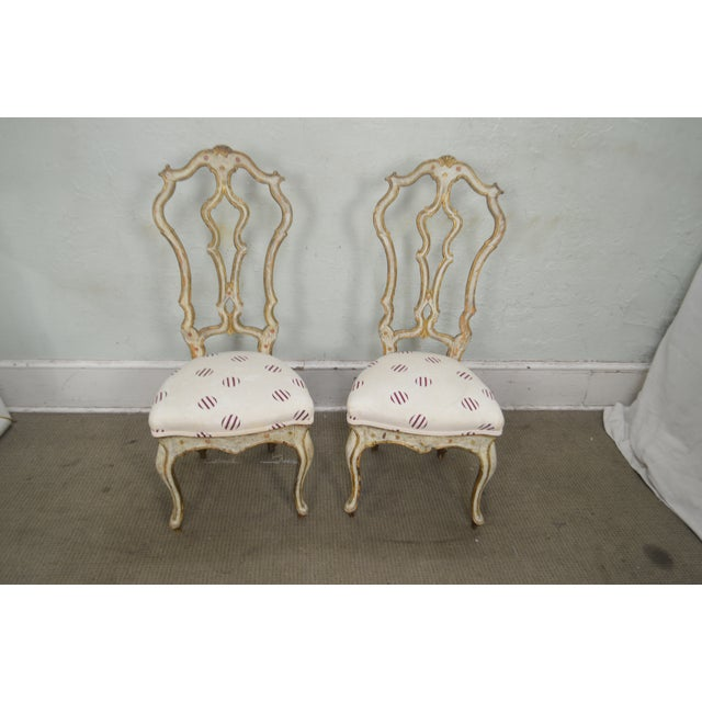 Italian Hand Painted Antique Venetian Pair of High Back Side Chairs For  Sale - Image 4 - Italian Hand Painted Antique Venetian Pair Of High Back Side Chairs