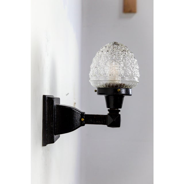 Glass Acorn Iron Mounted Sconces - A Pair For Sale - Image 4 of 11