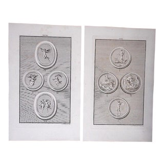 Authentic Antique Engravings-Medallions-18th Century-A Pair For Sale
