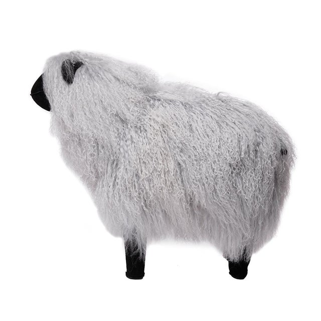 Contemporary Tibetan Lamb Sheep in Grey Large For Sale - Image 3 of 5