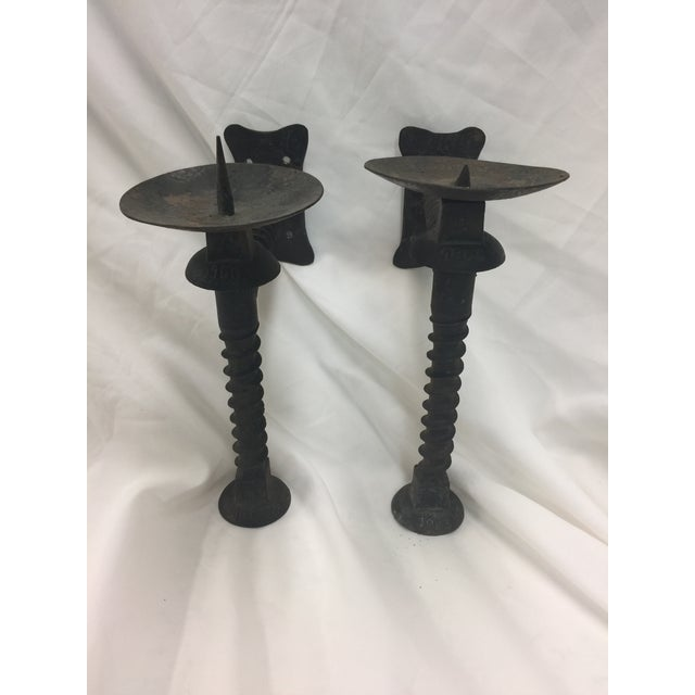 Wrought Iron Wall Candle Holders a Pair For Sale - Image 4 of 4