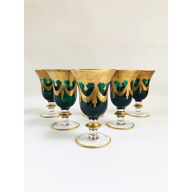 Set of six stunning Arte Italica Medici emerald green goblets elaborately hand-decorated with 24-karat gold banding and...