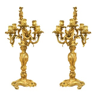 French Louis XV Bronze Dore Floral Candelabra - a Pair For Sale