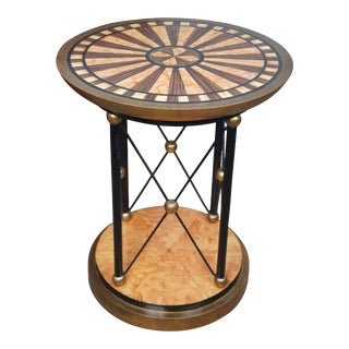 Late 20th Century Neoclassical Biedermeier Hand Painted Pedestal/Side Table For Sale