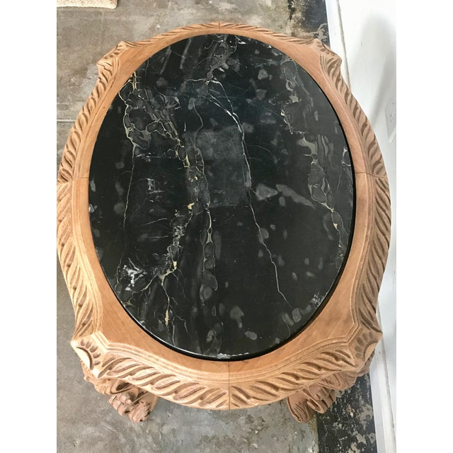 Baroque 20th Century French Ornate Carved Wood Black Marble Top Side Table For Sale - Image 3 of 8