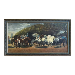 Circa 1928 Marché Aux Chevaux/Bonhuer by G. Robie Oil Painting For Sale