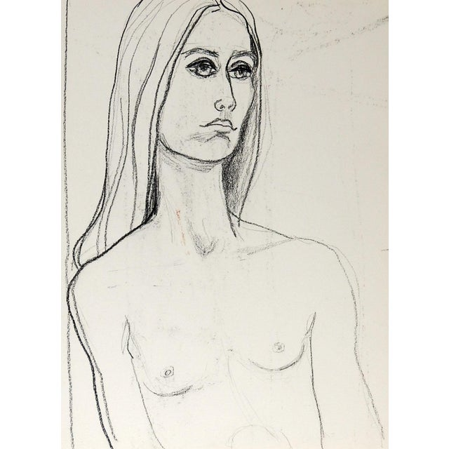 Mid-Century Modern Mid Century Nude Study Drawing of Woman For Sale - Image 3 of 3