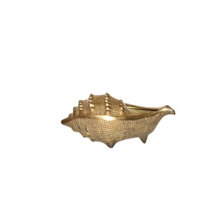 1960s Vintage Brass Conch Shell Planter For Sale