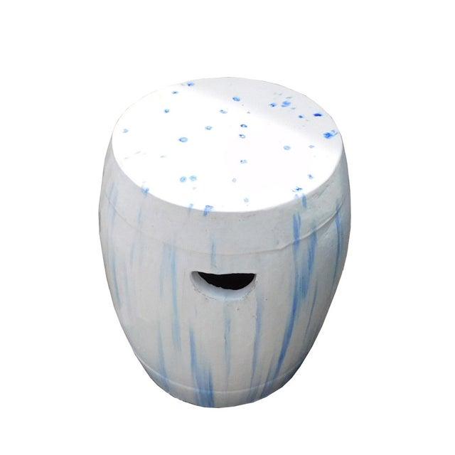 Chinese White & Blue Ceramic Garden Stool - Image 4 of 6