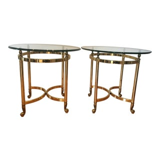 LaBarge Style Hollywood Recency Gold and Glass Side Tables - a Pair For Sale