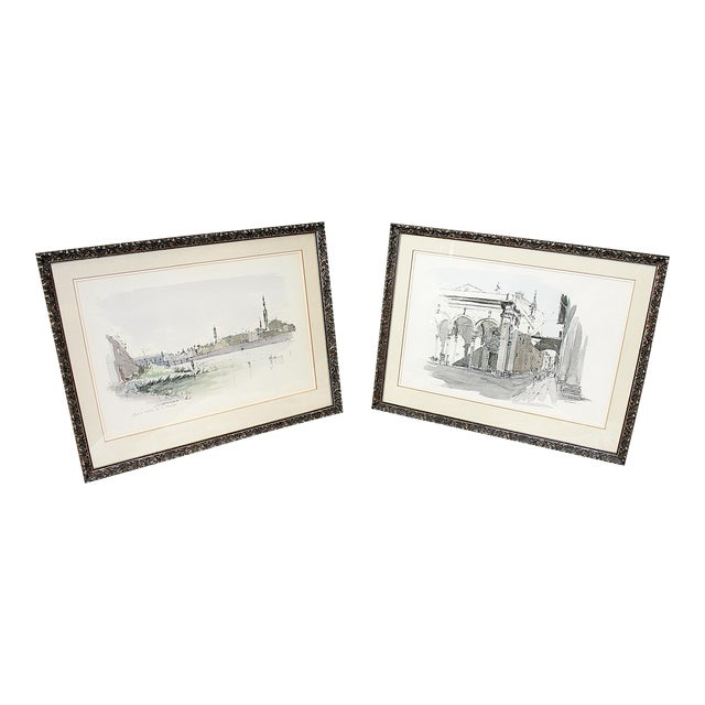 Framed Pen & Ink Watercolors - a Pair - Image 1 of 8