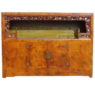 Antique Scholar's Chest, Open Bookcase, Brush Painting, Saffron For Sale
