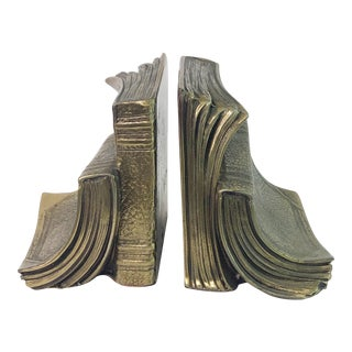 Vintage 1960s Brass Well Read Book Bookends - a Pair For Sale