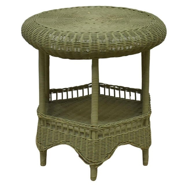 Rustic Vintage Light Green Painted Wicker Round Side Table For Sale - Image 3 of 13