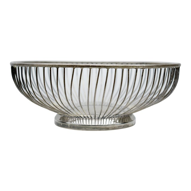 1970s Vintage Silver Plated Wire Bowl For Sale