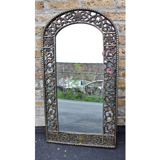 1910-1930 Antique Oscar Bach Mirror With Gothic Faces in Original Cast Iron Metalware Preview