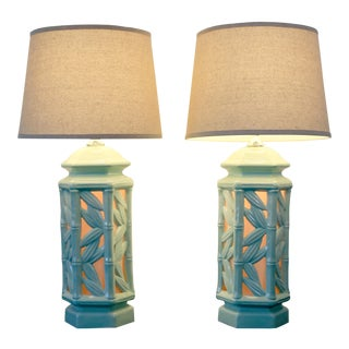 Vintage Celadon Ceramic Bamboo Design Lamps With Backlit Bases - a Pair For Sale