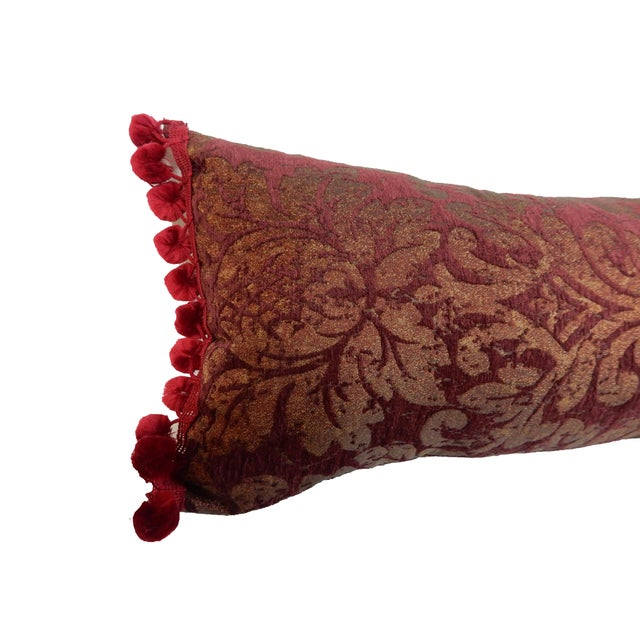 French Lumbar Damask Jacquard Burgundy & Gold Pillow For Sale - Image 3 of 9