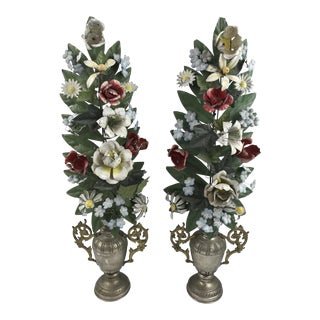 Antique Floral Tole Garland Urns - a Pair For Sale