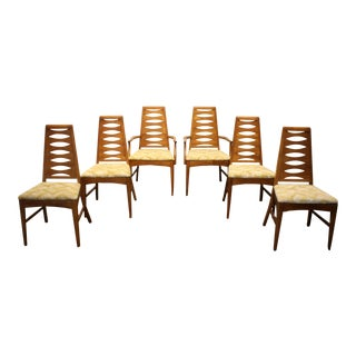 Mid Century Modern Brasilia-Style Dining Chairs by Young Mfg., Set of 6 For Sale