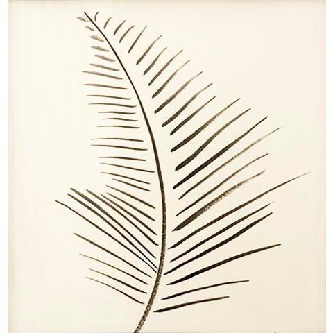 Original ink painting of palm on paper Framed in bronze metallic finish, ready to hang 20 in. square