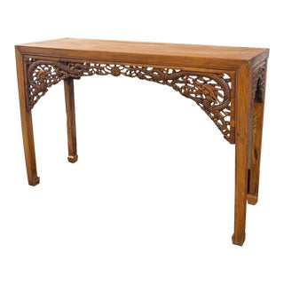 Chinese Altar Table With Dragon Form Carving. Qing Dynasty (1644-1912) For Sale